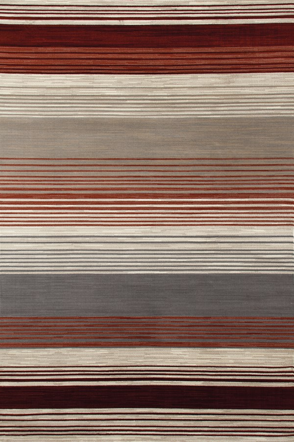 Red, Beige, Gray (AR-013) Striped Area Rug
