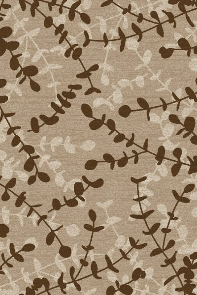 Beige, Dark Brown, Linen (AR-0322) Floral / Botanical Area Rug