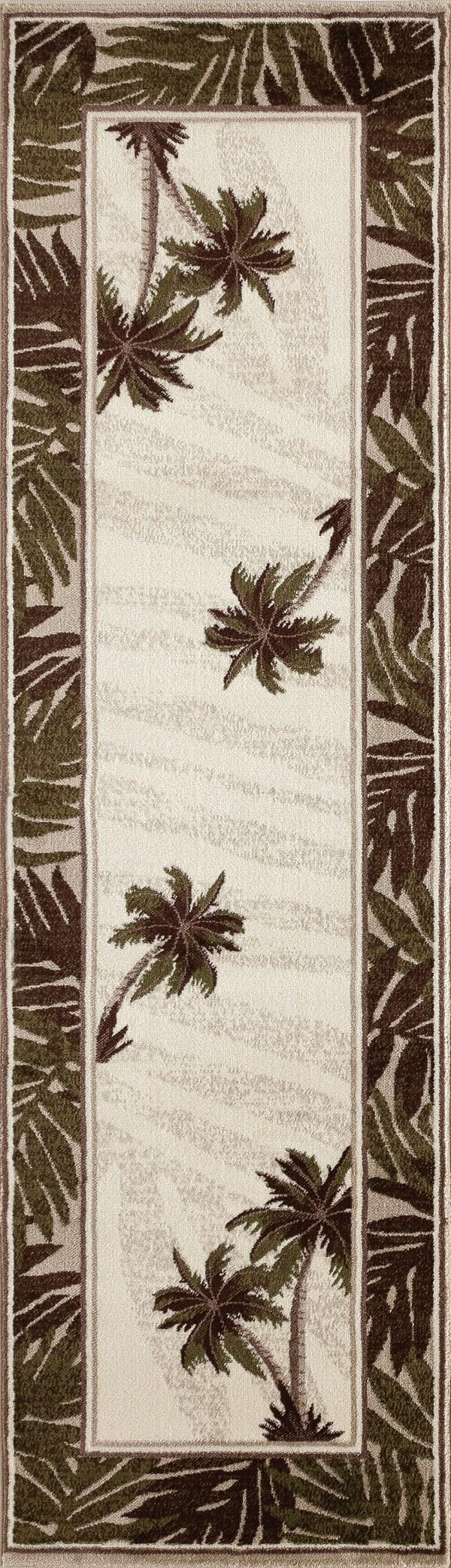 Beige, Green (AR-0385) Floral / Botanical Area Rug