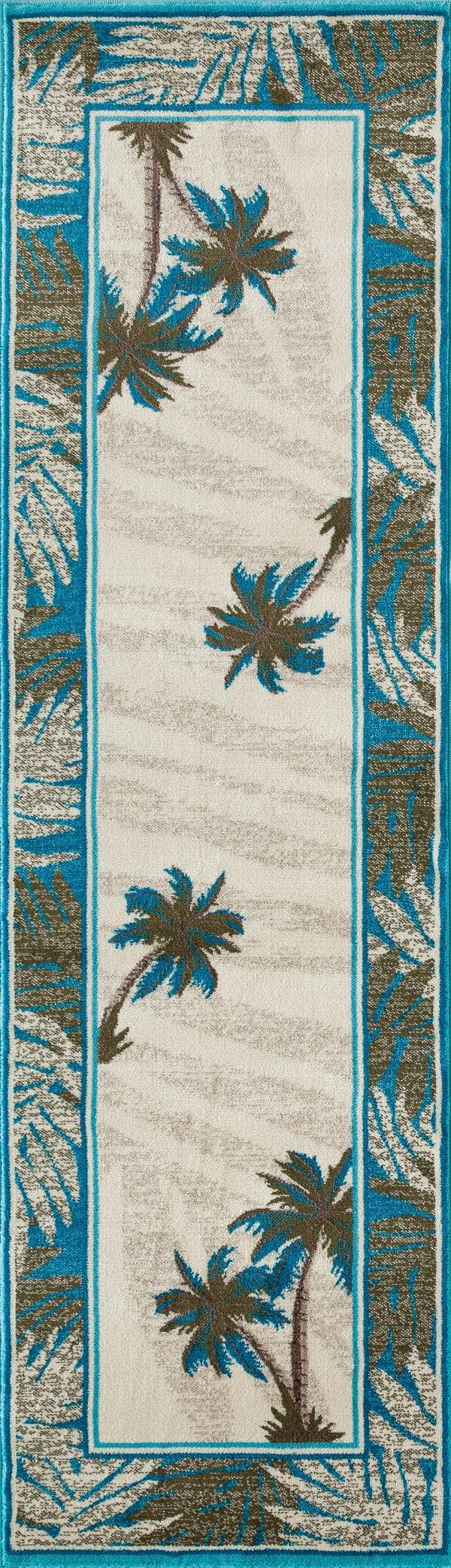Beige, Aqua, Green (AR-0386) Floral / Botanical Area Rug