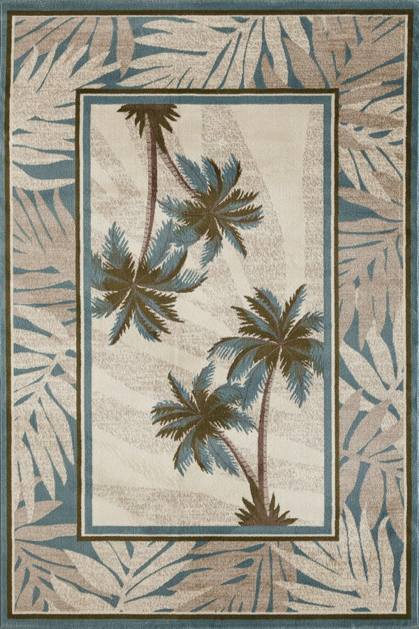 Beige, Blue, Green (AR-0387) Floral / Botanical Area Rug