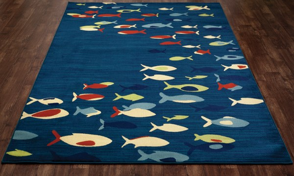 Navy, Red, Light Green (ARO-002) Outdoor / Indoor Area Rug