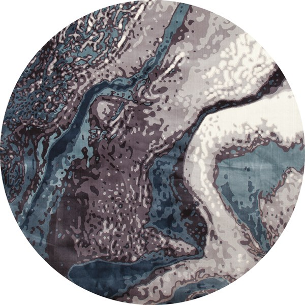 Aqua, Gray, Mushroom (IS-03) Abstract Area Rug