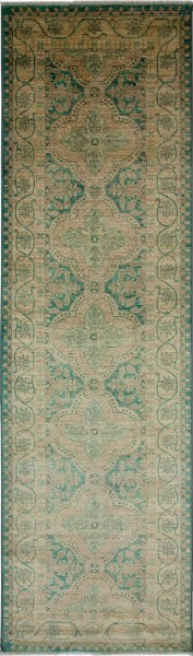 Green, Emerald, Champagne Traditional / Oriental Area Rug
