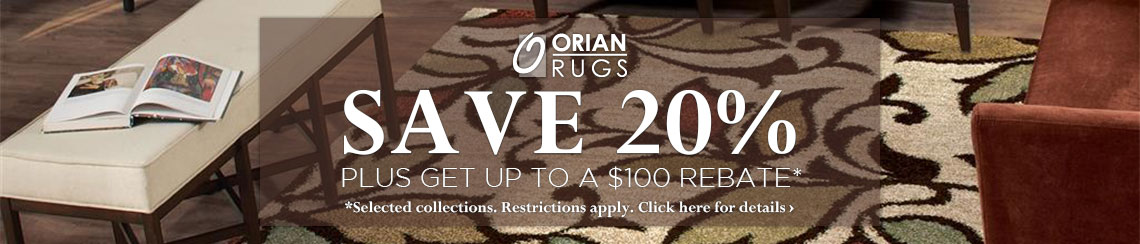 Orian Rugs - Save 20% plus get up to $100 back.