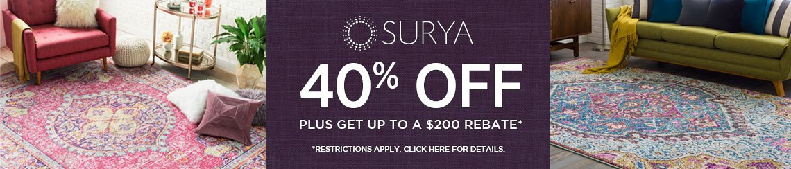 Surya Rugs - Save 40% plus get up to $200 back.