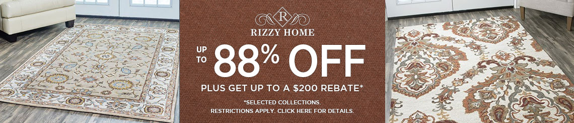 Rizzy Rugs - Save up to 88% plus get up to $200 back.