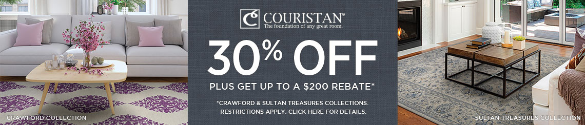 Couristan Rugs - Save 30% on select collections + get up to $200 back.