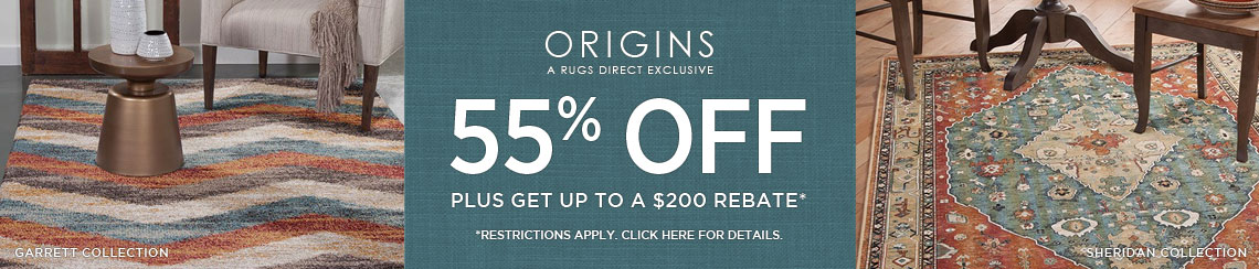 Origins Rugs - Save 55% + get up to $200 back!