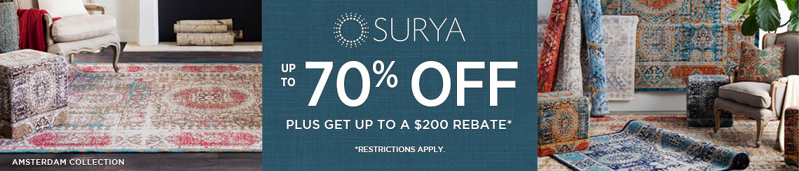 Surya Rugs - Save 70% plus get up to $200 back.