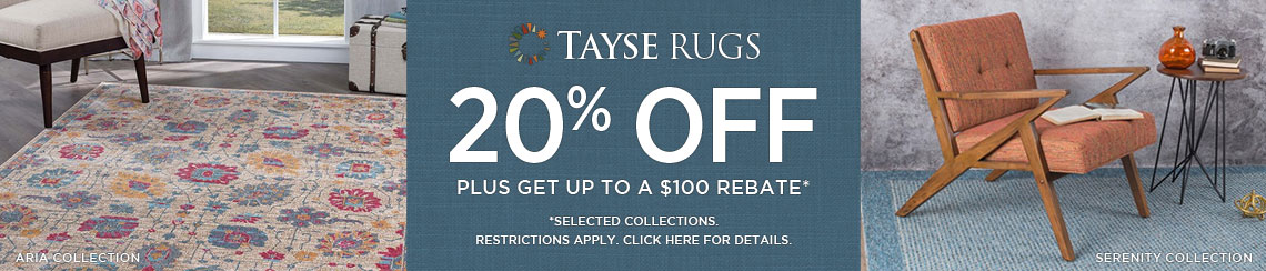 Tayse Rugs - Save 20% plus get up to $100 back.