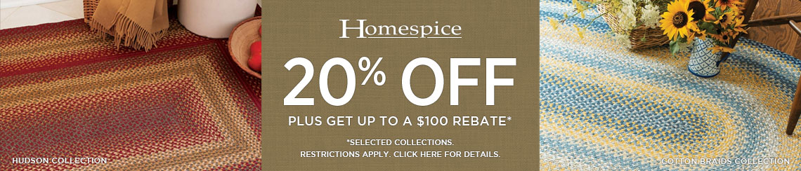 Homespice Rugs - Save 20% plus get up to $100 back.