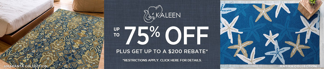 Kaleen Rugs - Save up to 75% + get up to $200 back.