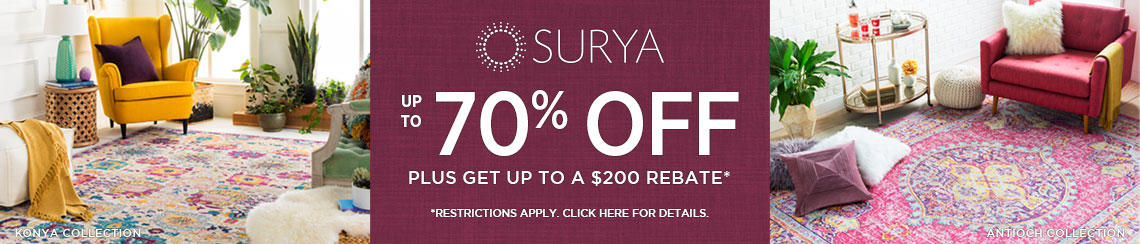 Surya Rugs - Save up to 70% + get up to $200 back.