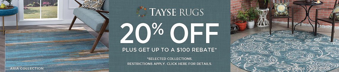 Tayse Rugs - Save 20% on selected collections + get up to $100 back.
