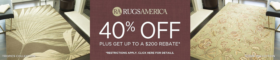 Rugs America Rugs - Save 40% plus get up to $200 back.