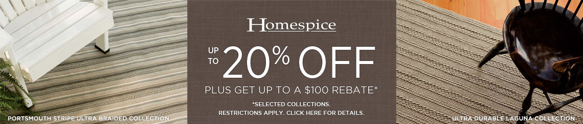 Homespice Rugs - Save 20% on select collections + get up to $100 back.