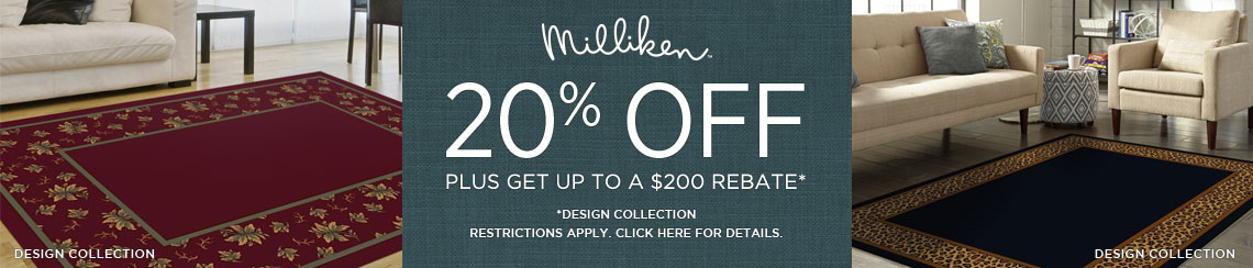 Milliken Rugs - Save 20% on select collections + get up to $200 back.