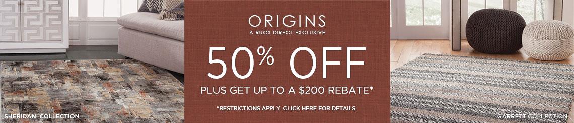 Origins Rugs - Save 50% + Rebate