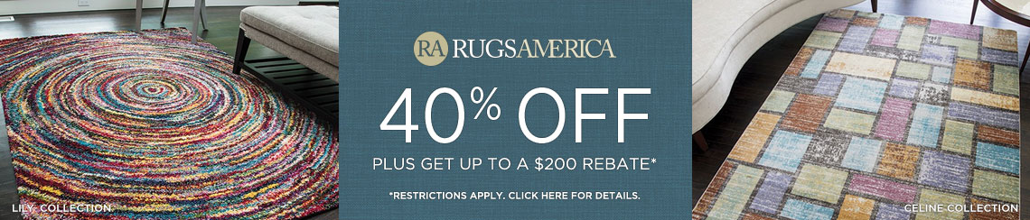 Rugs America - Save 40% + get up to $200 back.