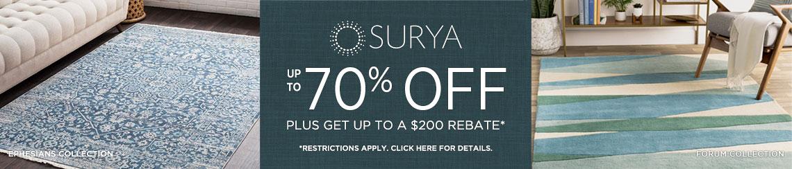 Surya Rugs - Save up to 70% + Rebate!