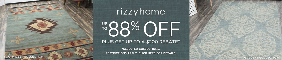 Rizzy Rugs - Save up to 88% + get up to $200 back!