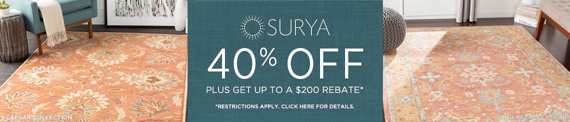 Surya Rugs - Save 40% + get up to $200 back!