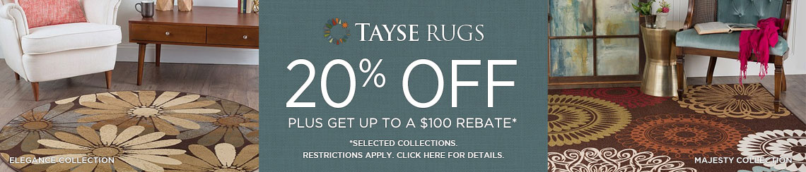 Tayse Rugs - Save 20% on select collections + get up to $100 back.