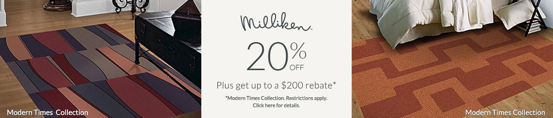 Milliken Rugs - Save 20% + get up to $200 back!