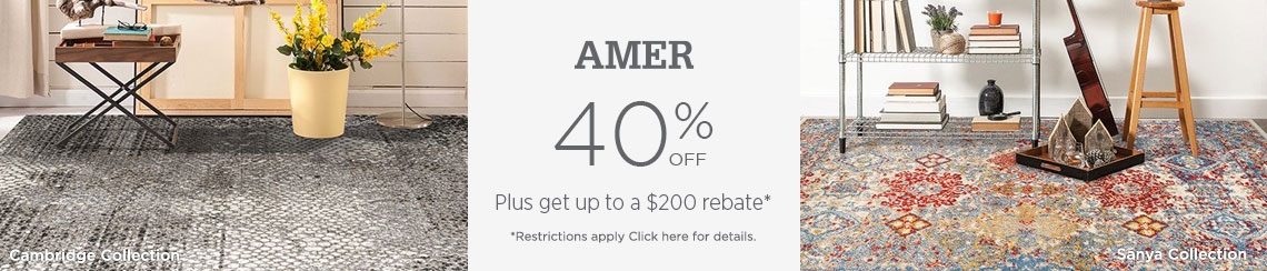 AMER Rugs - Save 40% + get up to $200 back.