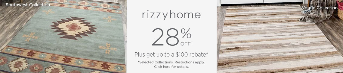 Rizzy Rugs - Save up to 28% + get up to $100 back!