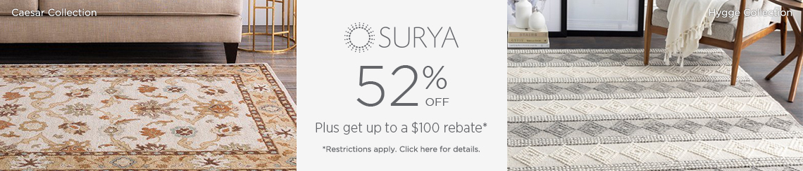 Surya Rugs - Save 52% + get up to $100 back!