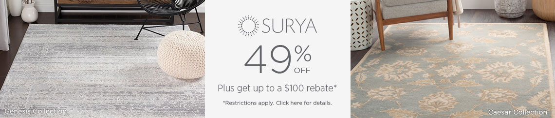Surya Rugs - Save 49% + get up to $100 back!