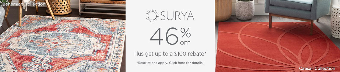 Surya Rugs - Save 46% + get up to $100 back!