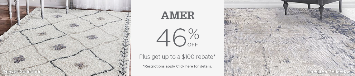 AMER Rugs - Save 46% + get up to $100 back.