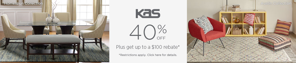 KAS Rugs - Save 40% + get up to $100 back.