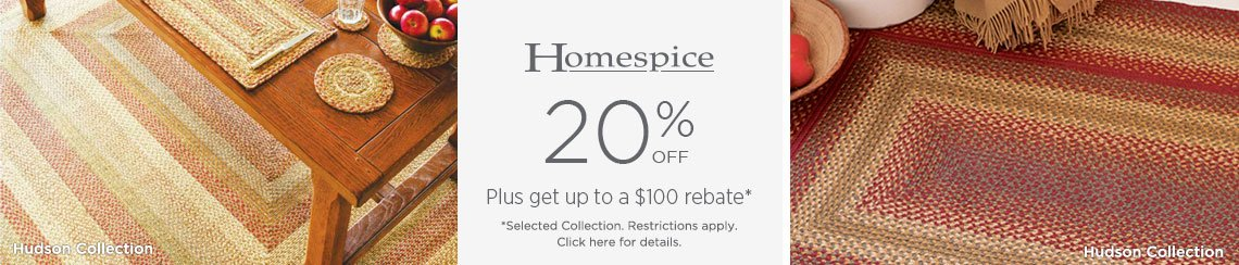 Homespice Rugs - Save 20% + get up to $100 back.