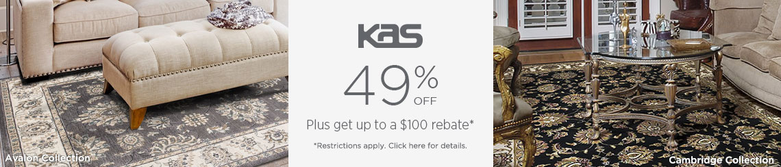 KAS Rugs - Save 49% + get up to $100 back.