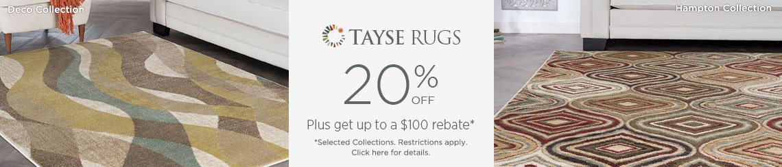 Tayse Rugs - Save 20% + get up to $100 back.