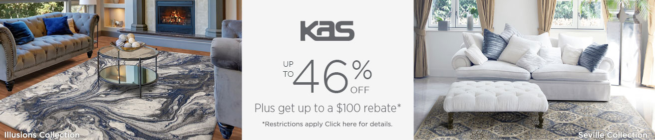 KAS Rugs - Save 46% + get up to $100 back.