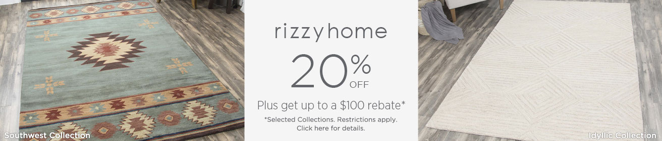 Rizzy Rugs - Save up to 20% + get up to $100 back!