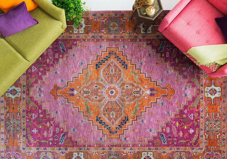 Make a statement with colorful rugs