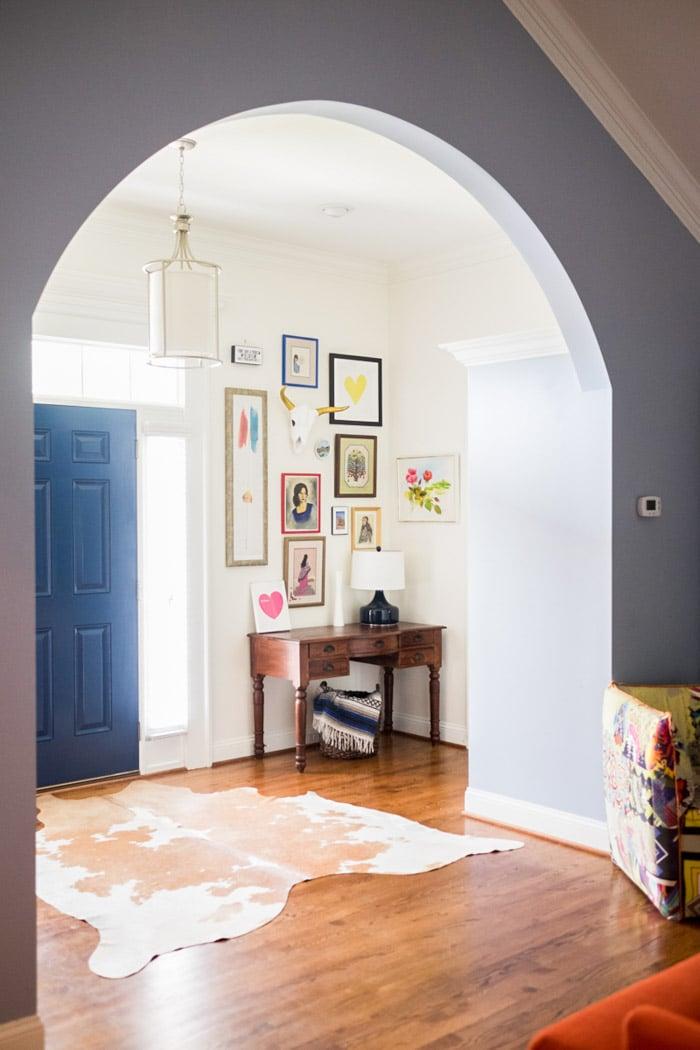 Cowhide rug in the entryway