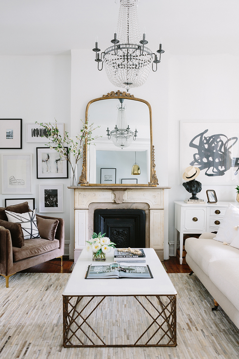 Geometric cowhide rug in the living room
