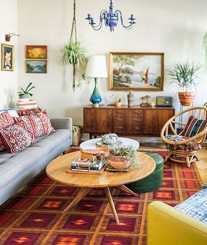 Colorful Mid-Century Modern Living Room