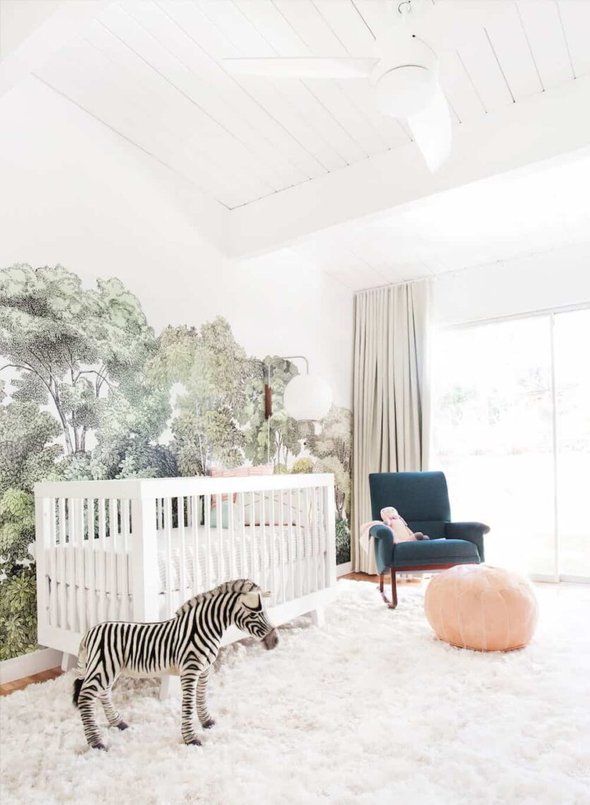 Nature-inspired nursery with shag rug