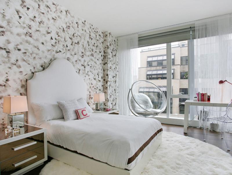 Round Shag Rug in Bedroom