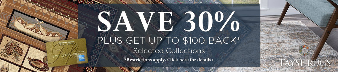 Tayse Rugs - Save 30% plus get up to $100 back.