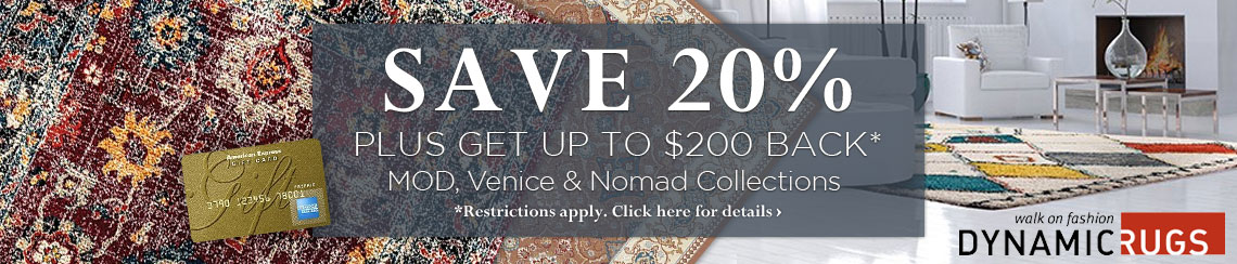 Dynamic Rugs - Save 20% plus get up to $200 back on select collections.